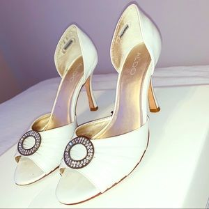 Aldo white open toe heel